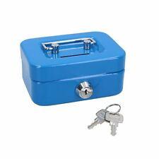 "More details for 4.5"" petty cash box money coin tin deposit security kids money box 2 keys blue"
