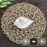 2pcs Hollow Cup Pad Mat Round Straw Weaving Woven Dining Home Kitchen Tablewares