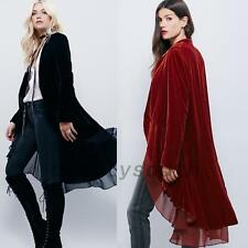 Thick Velvet Womens Chiffon Cardigan Wrap High Low Jacket Outwear Long Coat Top