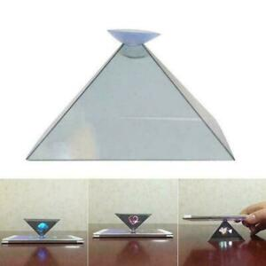 Magical Mini Pyramid Display Hologram 3D Projector Suction Cup' With Video 7Y6T