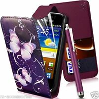 BUTTERFLY PURPLE FLIP PU LEATHER CASE COVER POUCH FOR NEW MOBILE PHONES