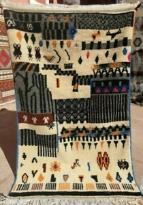 Moroccan Antique handmade Carpet. Vintage Berber multicolore benouarin Rug