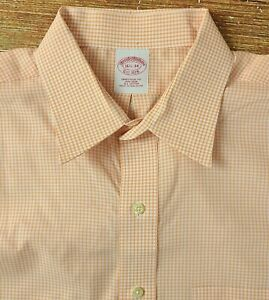 Brooks Brothers Men's Traditional Fit Non Iron Button Front Shirt 16.5-34 Orange