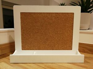 Great Little Trading Company Small White Pin Board Cork Noticeboard With Shelf