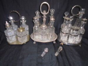 WILLIAM HUTTON & SONS  + BENETFINK & Co. 7 PICE SILVERPLATE CRUET CASTOR SETS +1