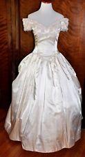 Vintage Ivory Off Shoulder Jim HJELM Beaded Princess Bridal Wedding Gown