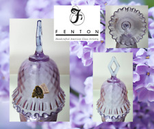 Vintage FENTON Art Glass BELL-Crimped LILAC DIAMOND OPTIC With Label
