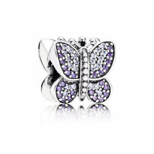 New Authentic Pandora Charm Sparkling Butterfly Charm, Purple CZ 791257ACZ