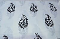 1 Yard Beautiful Hand Block Print Black With Floral 100% Cotton Craft Fabric