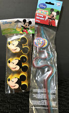 Mickey Mouse 3 Ct Treat Containers / Eggs & 2Pack Krazy Straws - Nip