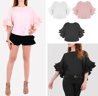 Women New Layered  Frill Sleeves Top 3/4 Sleeve Black White Shirt Blouse UK