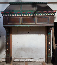 Reclaimed Hand Carved Large Antique Oak Fireplace Fire Surround Overmanatle