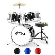 More details for tiger junior kids drum kit, 3 piece beginners drum set with stool