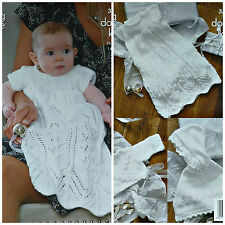 KNITTING PATTERN Baby Christening Dress/Robe Cardigan Poncho DK King Cole 3536
