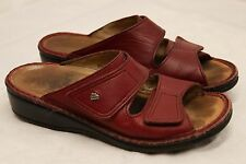 Womens Euro size 38 FINN COMFORT burgundy leather slide on sandals hook and loop