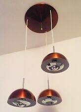 Grappe/Suspension Gandelin 3 lum.en acier laqué rouge métal 70'