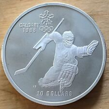 Canada 1986 20 Dollars, KM-148, Proof, Calgary Olympics, Ice Hockey Goalie (#c17