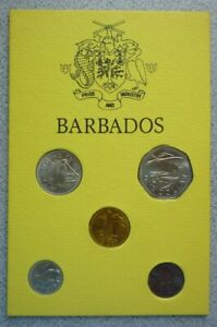 1973 BARBADOS - MINT UNC SET (5) - 1, 5, 10, 25 CENTS & DOLLAR - BEAUTY!
