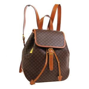 CELINE Macadam Backpack Hand Bag MC96* Purse Brown PVC Leather Vintage 34054