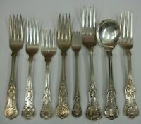 Lot Vintage Silverplate Kings Pattern Flatware Silverware Gorham Reed BB&B WRH+