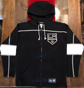 LA Kings NEW Fanatics Medium Zip Up Sweatshirt Black & White Los Angeles NHL M