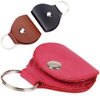 Exquisite Guitar Pick Holder Genuine Leather Plectrum Case Carry Bag Key Ring Tr