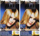 2 X SCHWARZKOPF LIVE SALON PERMANENT HAIR COLOUR 8.0 LIGHT BLONDE Brand New