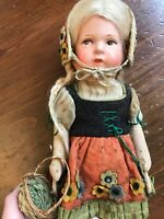 OOAK Vintage Scotland Girl Doll with basket blonde hair brown eyes