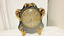 Vintage Gilbert Ornate French Style Mantle/Shelf Clock-Gongs-Gold Gilt-NO KEY