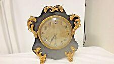 Vintage Gilbert Ornate French Style Mantle/Shelf Clock-Gongs-Gold Gilt-NO KEY