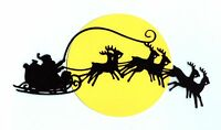 "Santa Claus Die Cuts - Santa in Sleigh Over Moon  - 10"" x 5"" 1 Set"