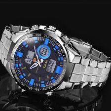 New Men's LED Date Stainless Steel Sport Alarm Digital Analog Quartz Wrist Watch