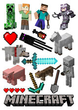 Minecraft characters set of decoration ICING WAFER edible cake topper A4 size