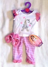 "My Life AG Clothes Eiffel Tower Paris PAJAMAS Set Pink PJ's 18"" Girl Doll NEW"