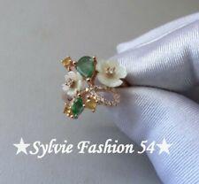 💚 Magnifique Unique bague argent 925 or rose Nacre Emeraude Saphir... T 52