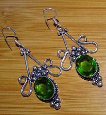 Faceted Peridot 925 Sterling Silver Overlay Girl,s Women,s Drop Dangle Earrings
