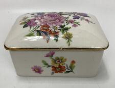 VTG Limoges France Painted Pink Floral Porcelain Trinket Holder Jewelry Box