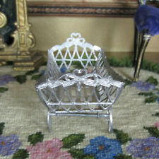 Antique Dollhouse SOFT METAL BABY CARRIAGE Vtg Buggy CRADLE Victorian Germany