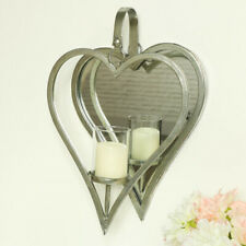 Antiqued silver heart mirror wall candle sconce shabby chic home accessories