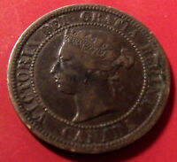 Rare 1876 H Canada Large Cent. Queen Victoria. Nice coin with holder included.