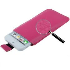 FUNDA IPHONE 5S 5C 5 4S 4 CUERO ROSA PT5 FUCIA PULL-UP POUCH LEATHER CASE