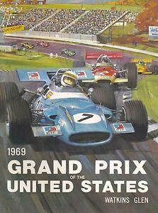 1969 Grand Prix United States Automobile Race Advertisement Vintage Poster