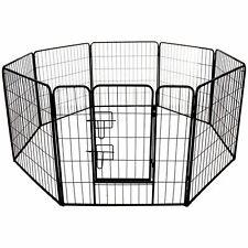 Black Large Pet Play Pen Run Exercise Puppy Rabbit Dog Pig Metal Folding Cage