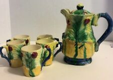 Antigue WW1 Made In Japan Hand Painted Pottery Cocoa Pitcher Cups Set