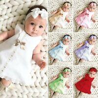 Newborn Baby Girl Sleeveless Casual Maxi Bow Dress + Headband Set outfit