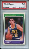 1988 Fleer Basketball #115 John Stockton Rookie Card RC Graded PSA MINT 9 Jazz