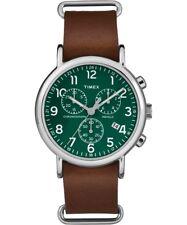 979df095677f TW2P97400 Reloj Timex Unisex Weekender con Cronógrafo de Cuero Marrón Reloj  con correa de deslizamiento a través de