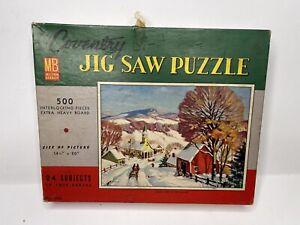 Vintage Milton Bradley Croxley Jigsaw Puzzle 500 Pieces #4906 winter scene