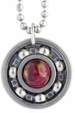 Ruby Pyrite Roller Derby Skate Bearing Pendant Necklace