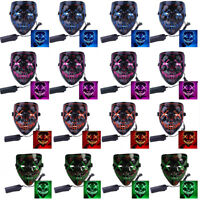 NEW LED Mask Cosplay Costume Light Up Scary Halloween Party Purge Wire Bar Decor
